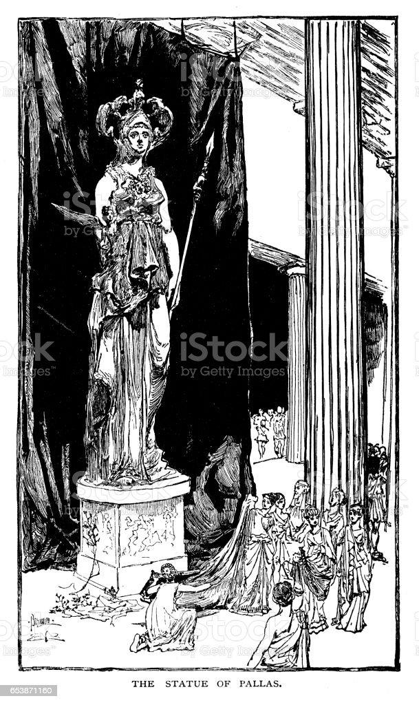 Statue of Pallas vector art illustration