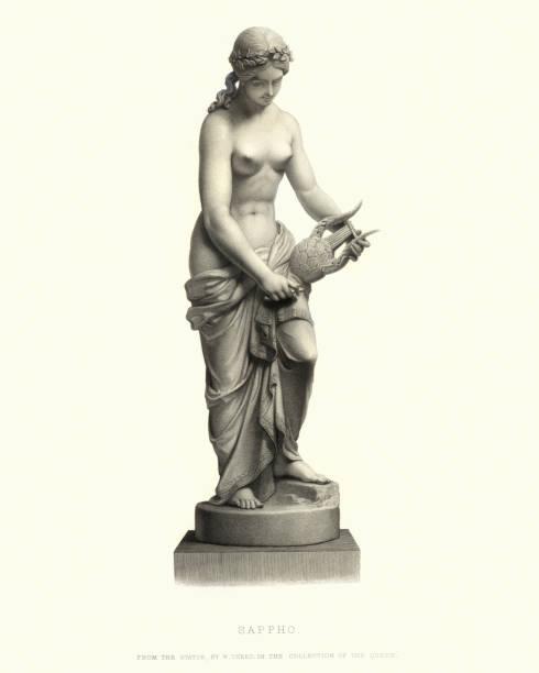 Statue of Sappho vector art illustration