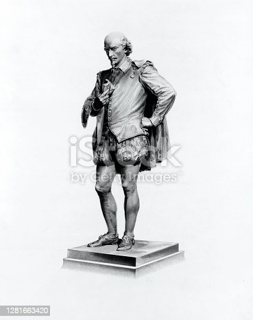 Vintage image features a statue of William Shakespeare (1564-1616), an English playwright, poet, and actor, widely regarded as the greatest writer in the English language and the world's greatest dramatist.