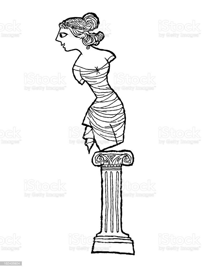 Statue of Woman Tilting vector art illustration