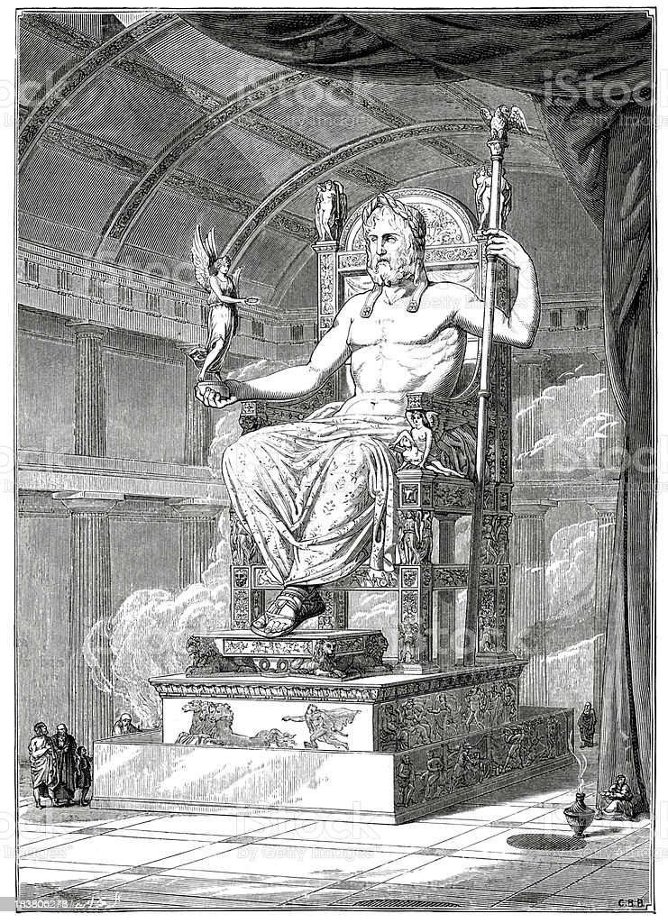 Statue of Zeus at Olympia vector art illustration