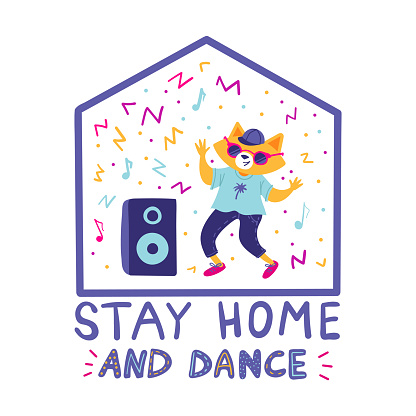 Stay at home during the coronavirus epidemic and dance. Prevent infection spreading. Cute fox dancing with a music column. Vector cartoon character
