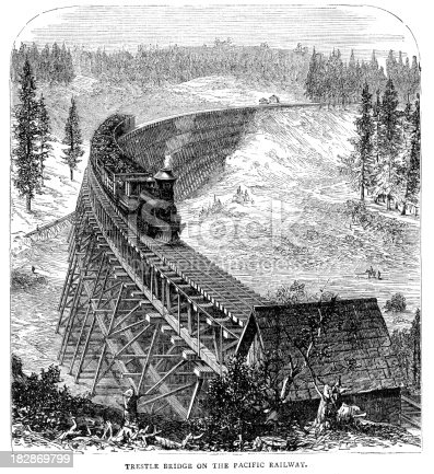 Vintage 19th century engraving showing an old fashioned steam train crossing a trestle bridge on the Pacific railway.