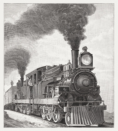 Steam locomotive for the Mexican Central Railway, woodcut, published 1895