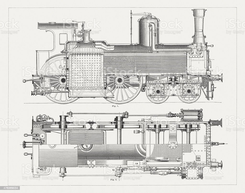 Steam Locomotive, wood engravings, published in 1877 royalty-free steam  locomotive wood engravings