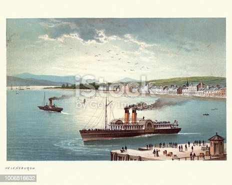 Vintage engraving of a Steam paddleboat off Helensburgh,  Scotland, 19th Century. Helensburgh is a town within the Helensburgh and Lomond Area of Argyll and Bute Council, Scotland.