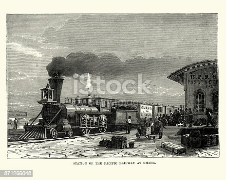 Vintage engraving of a station of the Pacific Railway at Omaha, 19th Century