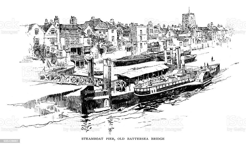 Steamboat pier and Battersea bridge in Chelsea, London vector art illustration