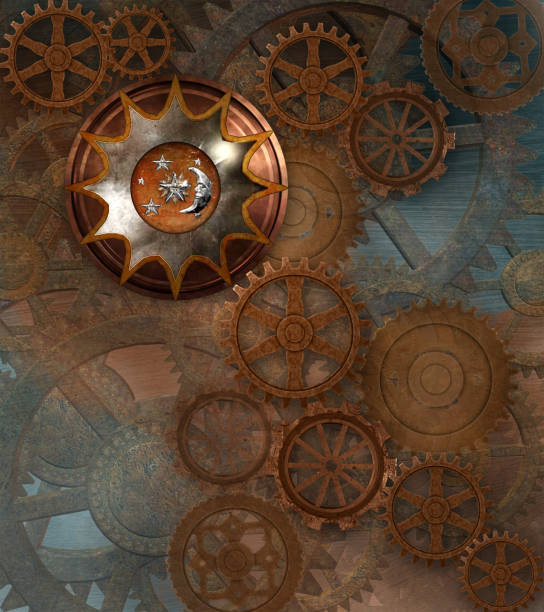 Steampunk rusty background with gears vector art illustration