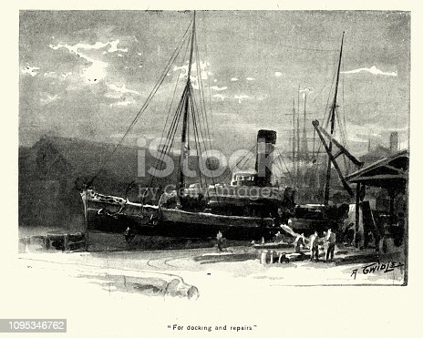 Vintage engraving of Steamship in for docking and repairs, Late Victorian, 19th Century.
