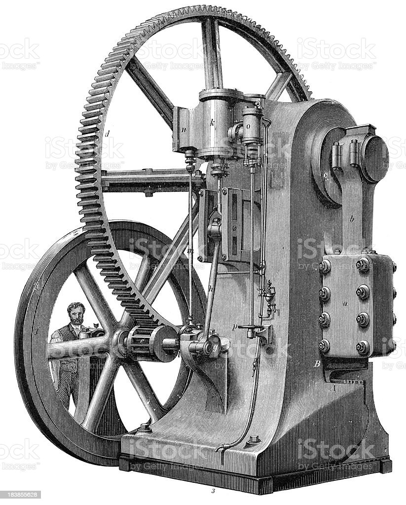 Steel Press Punch - Industrial Revolution Machinery royalty-free stock vector art