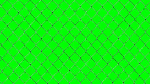 stockillustraties, clipart, cartoons en iconen met staaldraad hek geïsoleerd op groen scherm - green screen