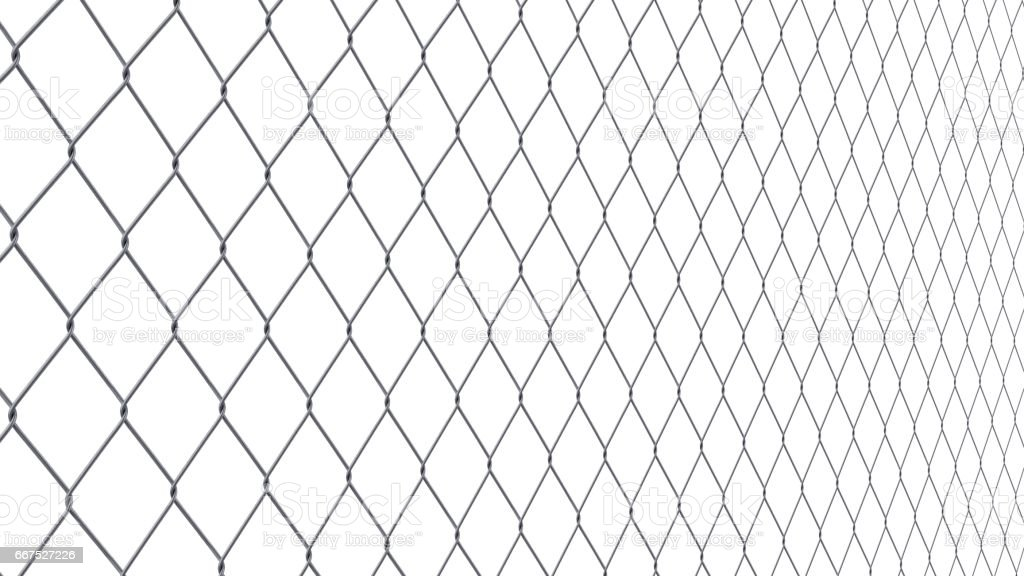 Steel Wire Fence Isolated On White Background stock vector art ...