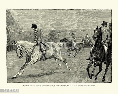 Vintage illustration of House of Commons point to point steeplechase near Daventry.  Mr A E Pease winning on Nora Creina, 1891