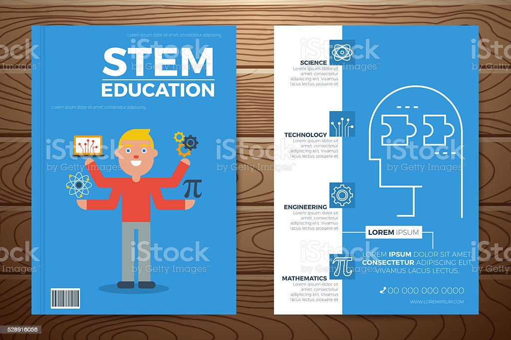 Stem Education Book Cover And Flyer Template Stock Vector Art More