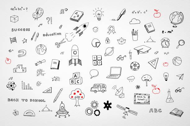 bildbanksillustrationer, clip art samt tecknat material och ikoner med stem utbildning, barnens barn dom kreativ idé och skolan utbildning framgång koncept med studentens hand ritning doodle på vit bakgrund - förskola