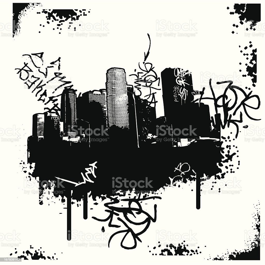 Stencil of city with graffiti royalty-free stock vector art