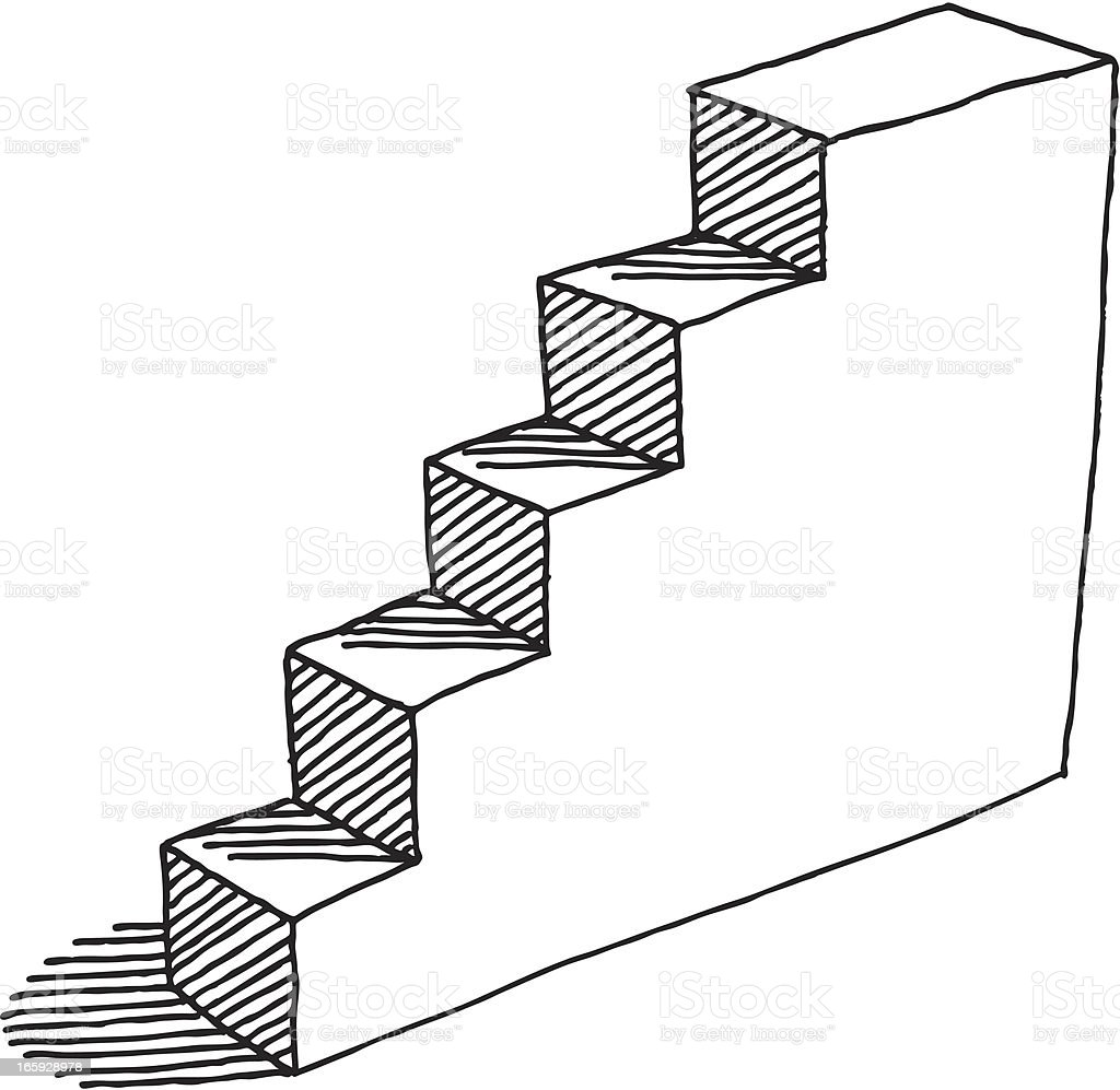 Steps Upwards Drawing royalty-free stock vector art