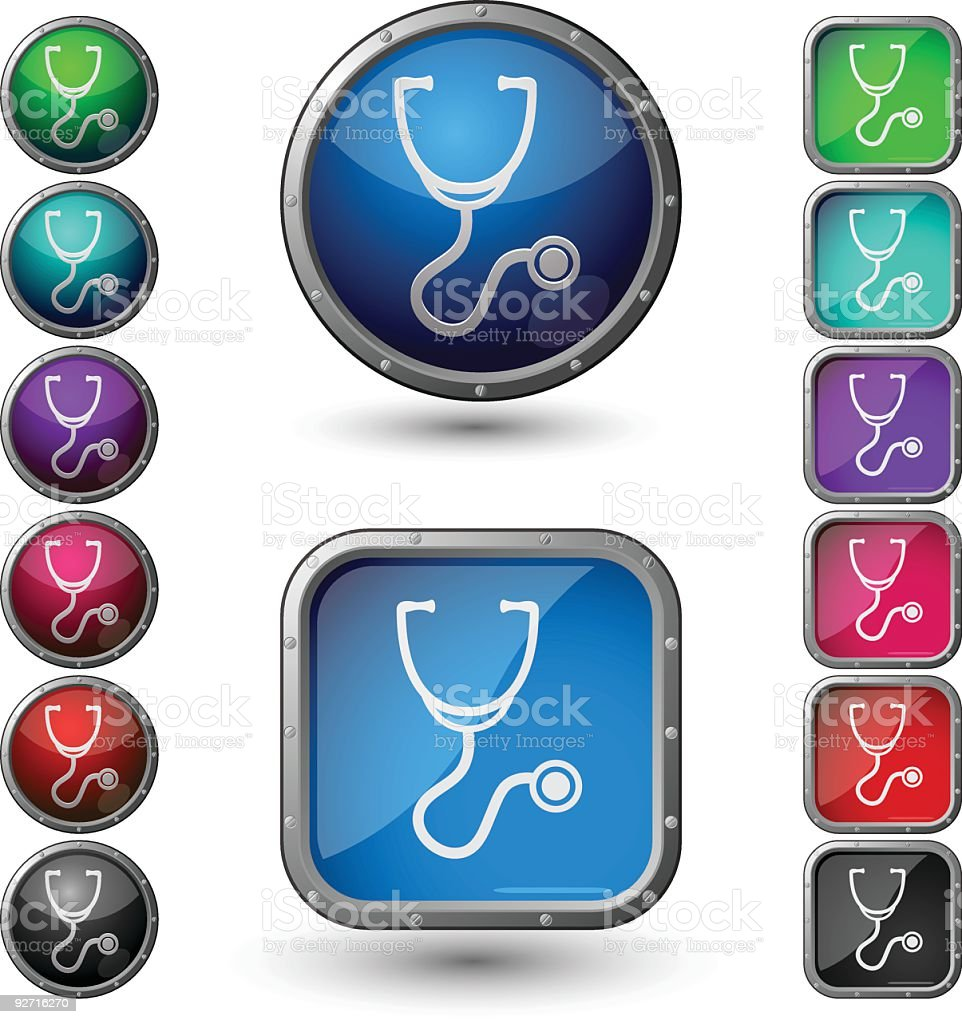 Stethoscope - glossy buttons with steel frame. royalty-free stethoscope glossy buttons with steel frame stock vector art & more images of advice