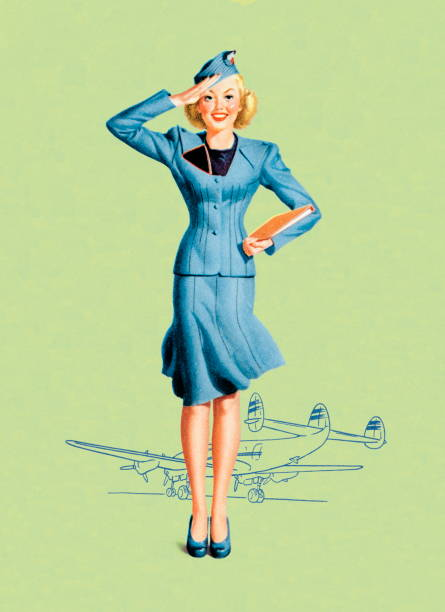 stockillustraties, clipart, cartoons en iconen met stewardess - stewardess