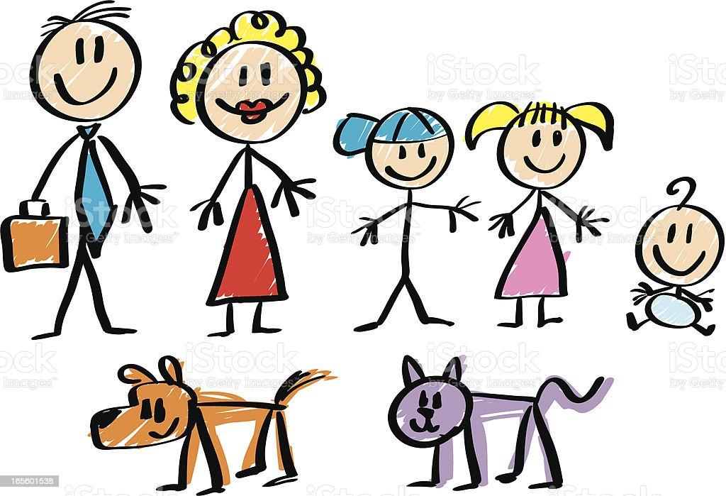 Stick Figure Family Stock Illustration Download Image