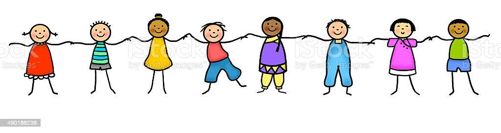 Dibujo de figuras de manos de retención para niños - ilustración de arte vectorial