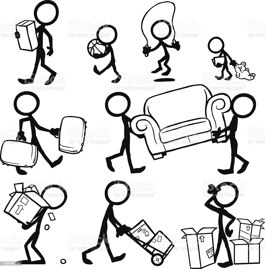 Stick Figure People Moving royalty-free stock vector art