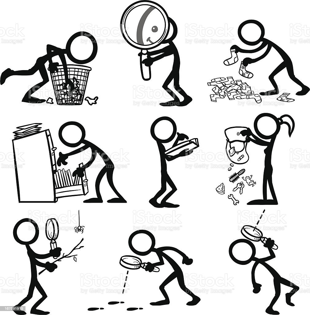 Stick Figure People Searching Stickfigures doing a variety of searching behaviours. Activity stock vector