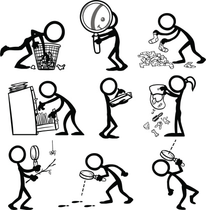 Stick Figure People Searching Stock Illustration - Download Image Now