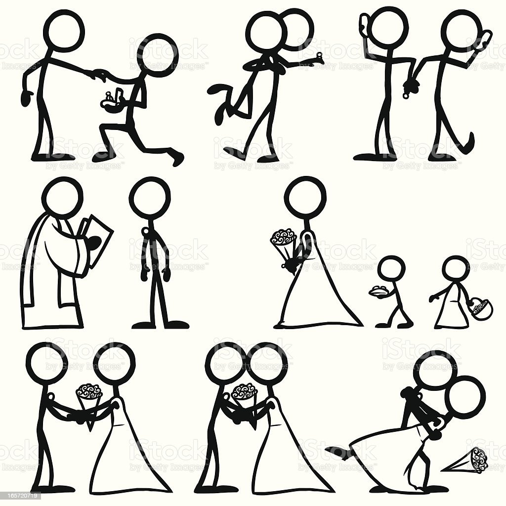 stick figure people wedding stock vector art more images of adult rh istockphoto com stick people art with sticks Stick Peaple