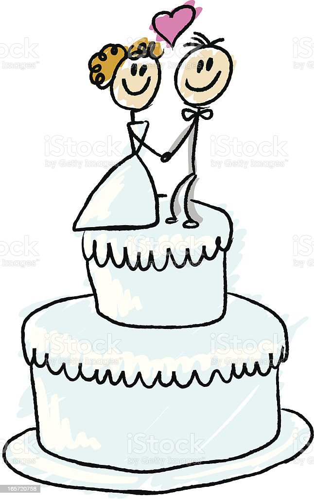 Stick Figure Wedding Cake Stock Vector Art More Images Of Cake