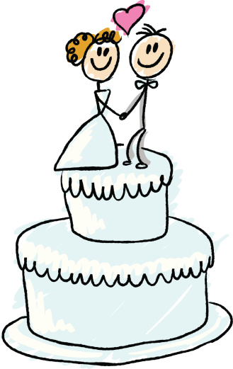 Stick Figure Wedding Cake Stock Illustration - Download Image Now