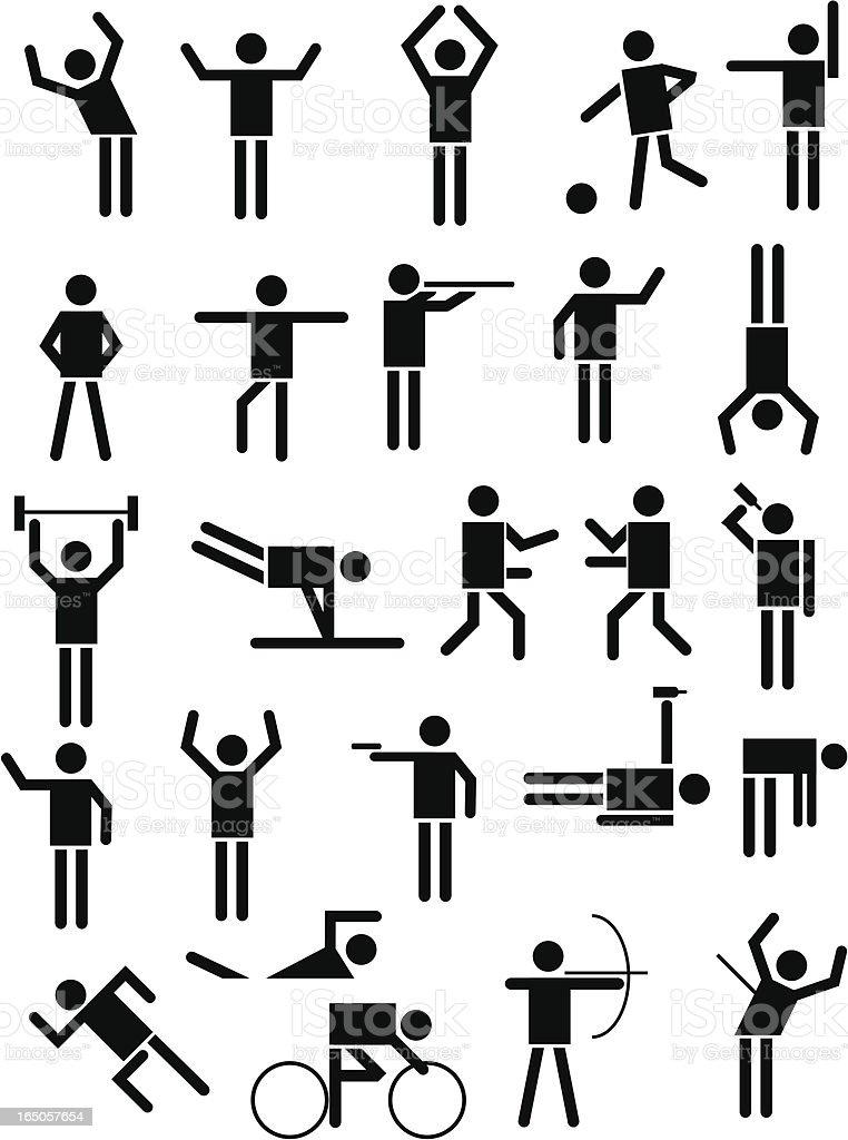 Stick men vector art illustration