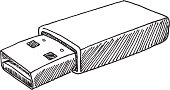 Hand-drawn vector sketch of a generic USB Stick. Black-and-White sketch on a transparent background (.eps-file). Included files: EPS (v8) and Hi-Res JPG.