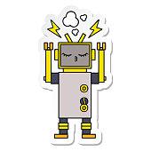 sticker of a cute cartoon malfunctioning robot