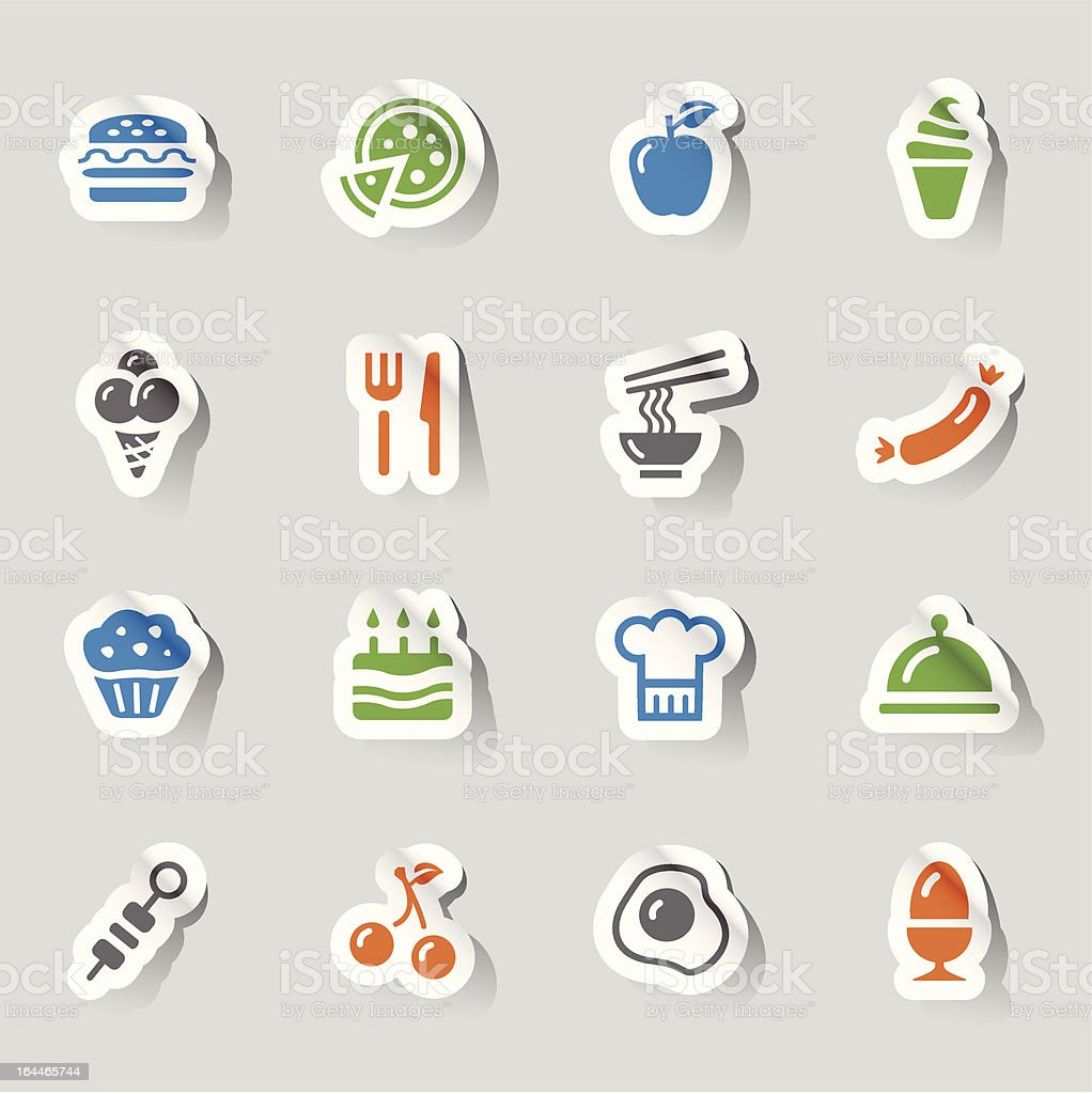 Stickers - Food Icons vector art illustration