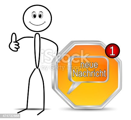 istock Stickman with new Message Button - in german 474732888
