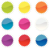 Brightly colored stickers in the shape of a star