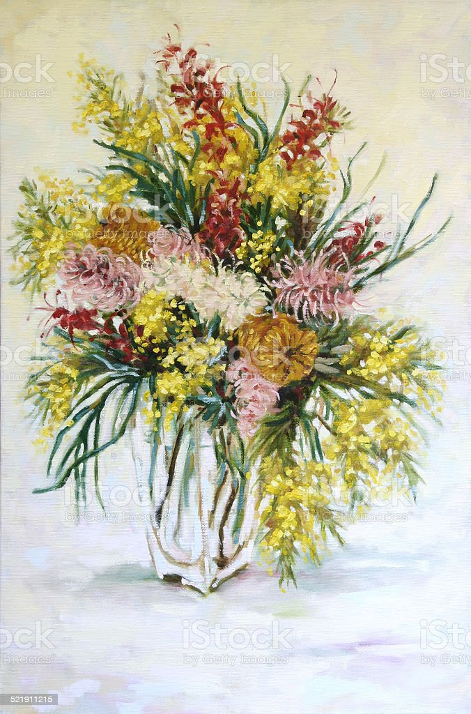 Still Life Australian Native Flowers Oil Painting vector art illustration