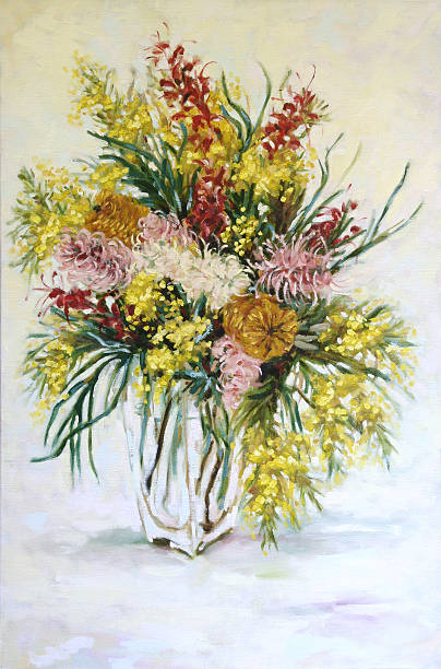 Still Life Australian Native Flowers Oil Painting vector art illustration