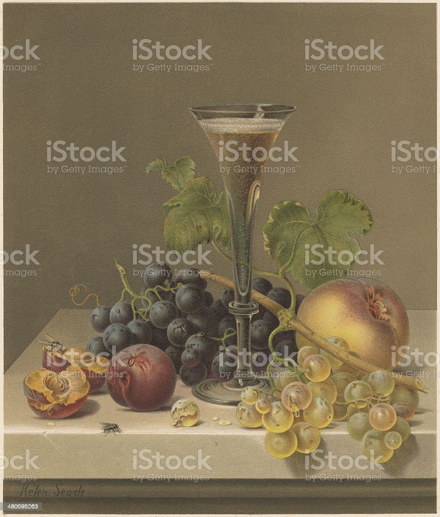 Still life, by Helen R. Searle (1830-1884), lithograph, published 1871 vector art illustration