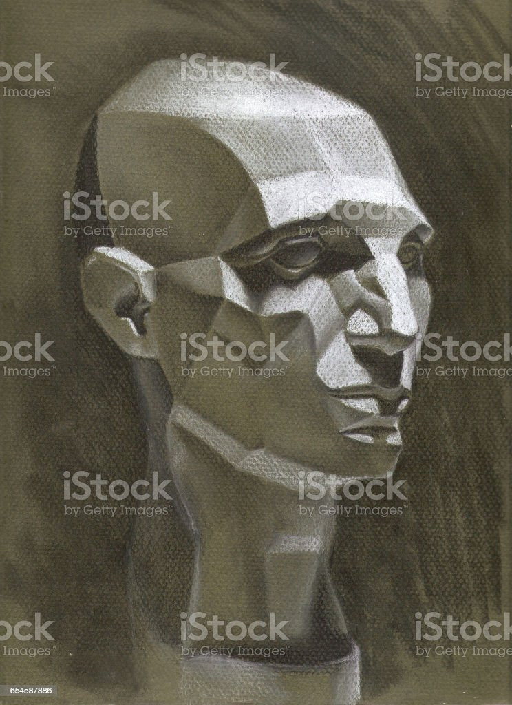 Still Life Drawing Of A Geometric Head In Quarter View With Shading