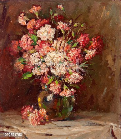 Still life oil painting showing colorful flowers in the vase standing on the table.