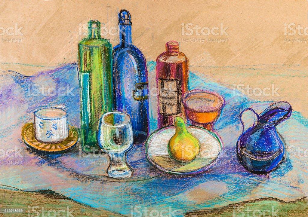 Still life on blue cloth vector art illustration