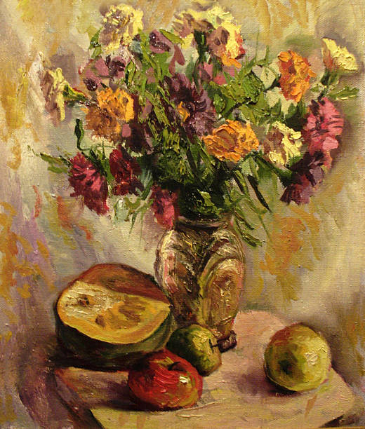 Still life with a bouquet of asters. Oil painting Still life with a bouquet of asters in vase, pumpkin and apples. Oil painting still life stock illustrations