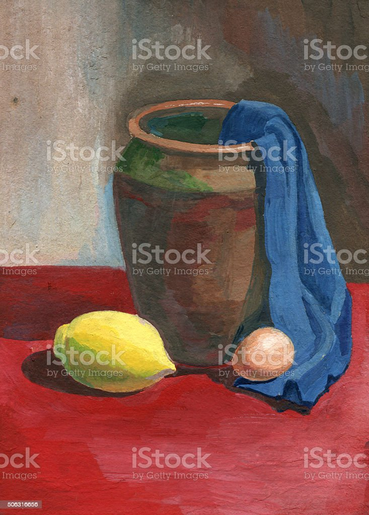 still life with a pot and lemon painting vector art illustration