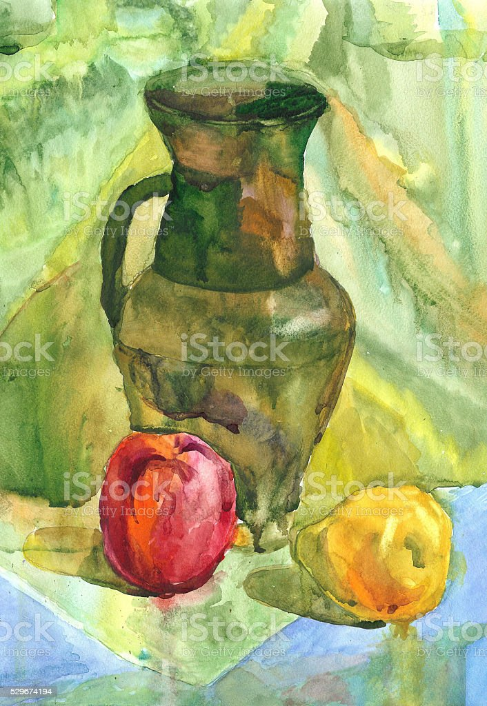 Still Life with apple, Jug and pear, Watercolor painting vector art illustration