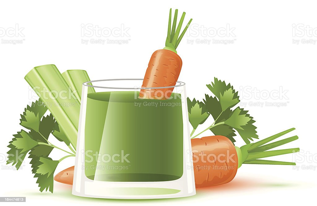 Still life with fresh carrot and celery juice vector art illustration