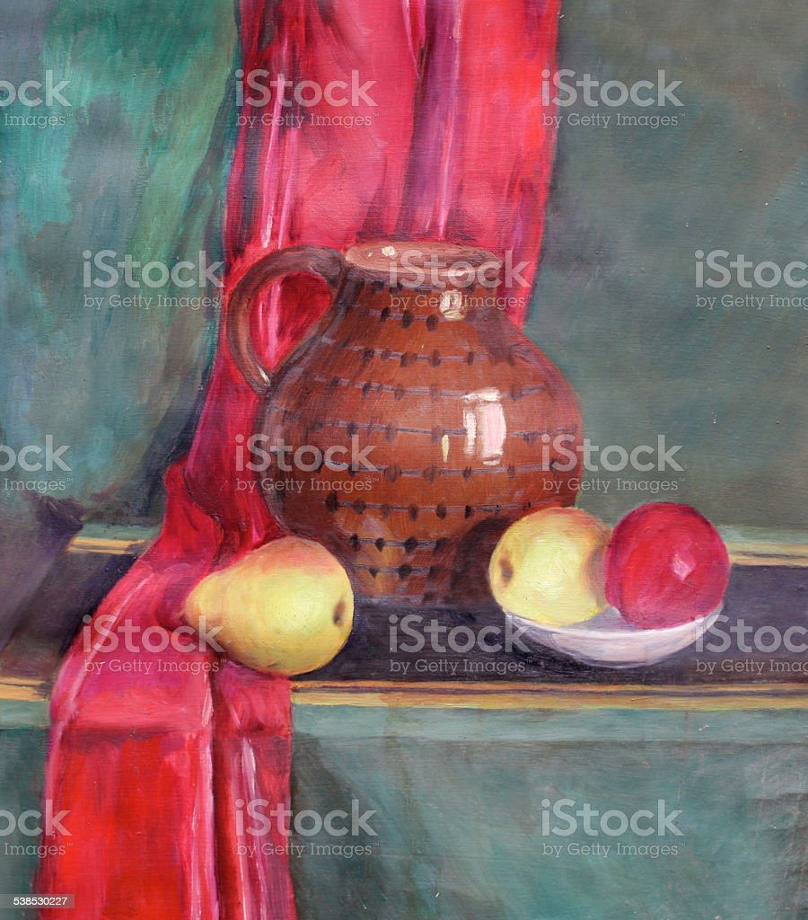 still life with fruit and a pot vector art illustration