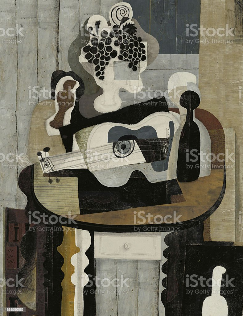Still Life with Guitar vector art illustration